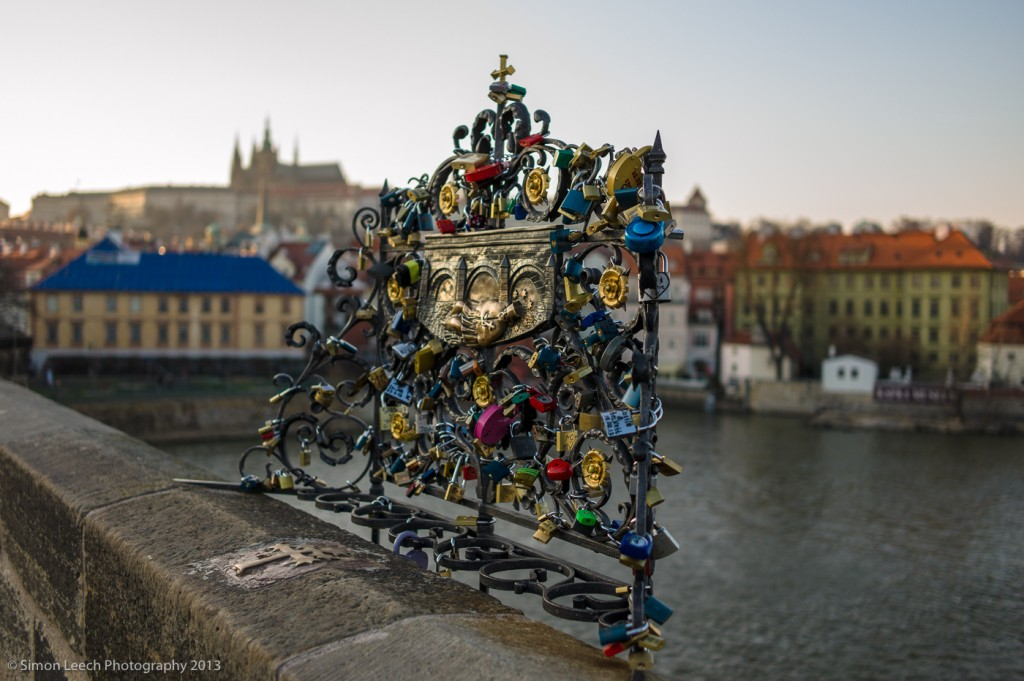 Locks on Charles Bridge, Prague. Placing locks on bridges in European cities has become a recent craze - couples place a lock on a metal structure to show the strength of their relationship