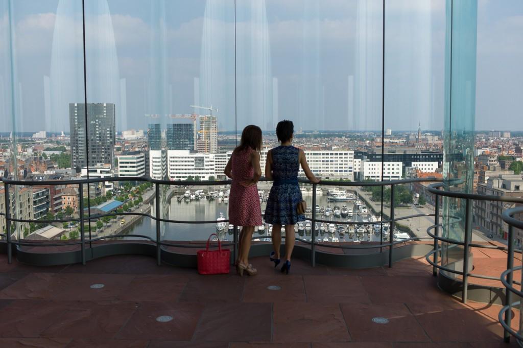 Looking at the city of Antwerp from the MAS, Museum aan de Stroom